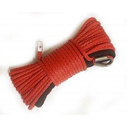 Синтетический (кевларовый) трос для квадроцикла 15м 6мм (красный, без крюка)
