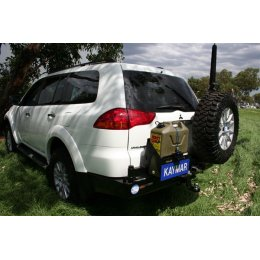 Задний бампер Kaymar с калитками Mitsubishi Pajero Sport 2010-2016